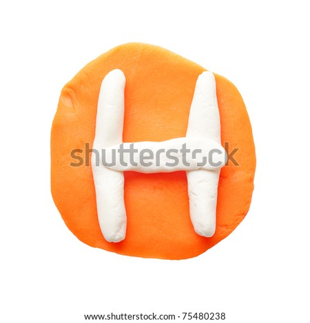 Alphabet letter using plasticine and clay. Letter H - stock photo