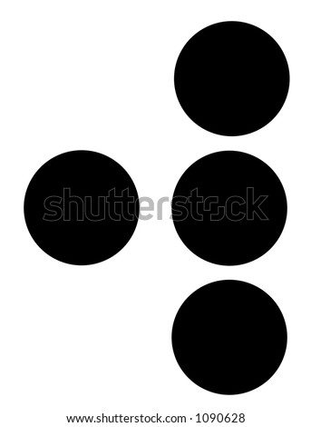 alphabet letter w in braille - stock photo
