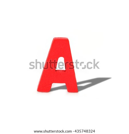 alphabet letter wood long shadow  on white background - stock photo