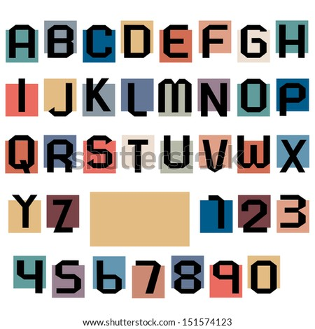 Alphabet letters and numbers.Raster version