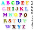 Alphabet Letters Fonts Uppercase Colors Stickers - stock photo