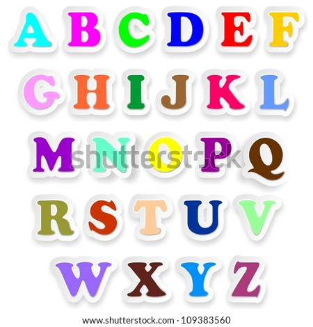 Alphabet Letters Fonts Uppercase Colors Stickers
