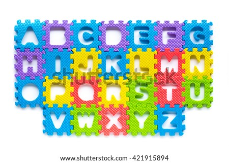 Alphabet letters for starters learn English. colorful letters toys children. english font jigsaw. - stock photo