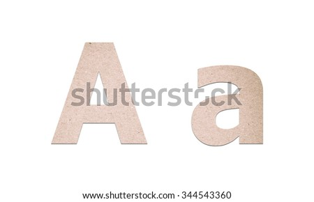Alphabet letters from recycled paper texture on white background