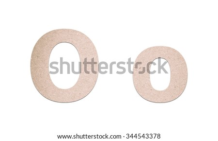 Alphabet letters from recycled paper texture on white background - stock photo