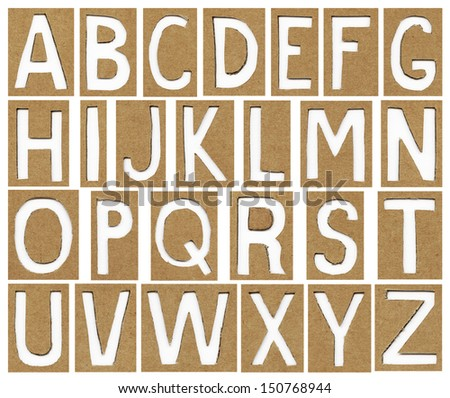 alphabet letters made from cardboard paper, school background - stock photo
