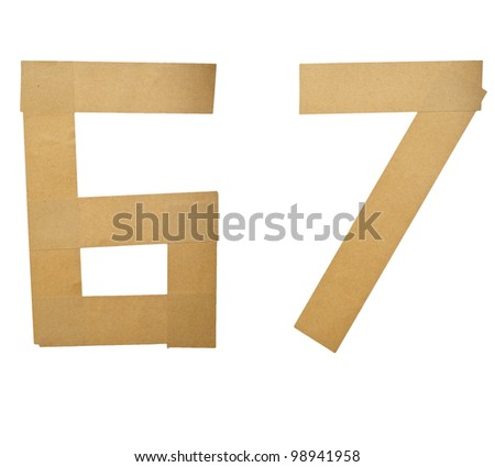 Alphabet Letters Number Sticker on white background (6 7)