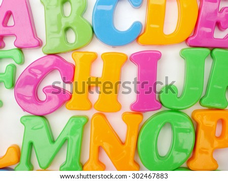 Alphabet letters on white background