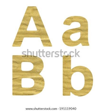 alphabet made from beige paper on a white background