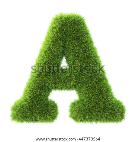 Alphabet made from green grass. isolated on white. 3D illustration.