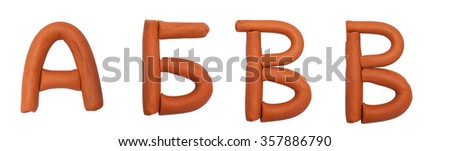 Alphabet made from plasticine - stock photo