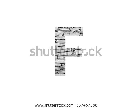 Alphabet made from stone wall, isolated on white background