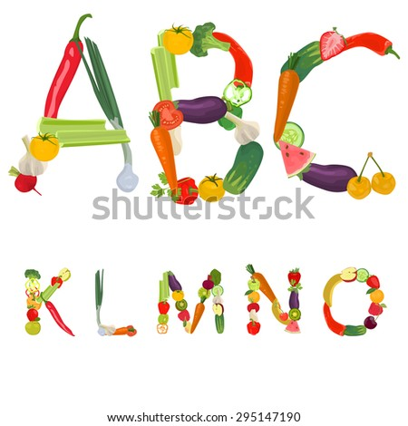 Alphabet made of fruits and vegetables - stock photo