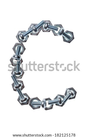 Alphabet made of nuts and bolts, letter C. Isolated on white