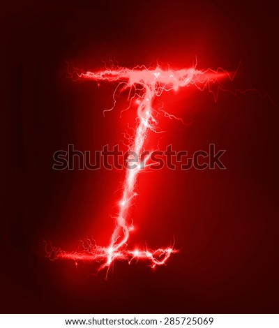 Alphabet Made Of Red Electric Lighting Thunder Storm Effect ABC