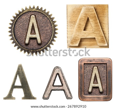 Alphabet made of wood and metal. Letter A - stock photo