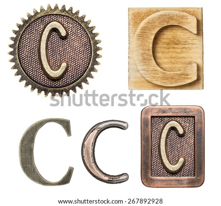 Alphabet made of wood and metal. Letter C - stock photo
