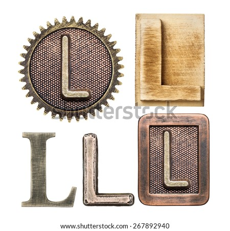 Alphabet made of wood and metal. Letter L - stock photo