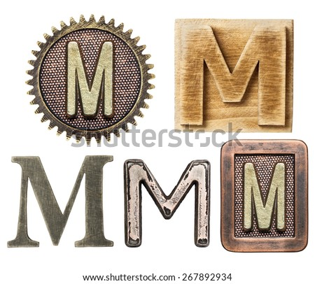 Alphabet made of wood and metal. Letter M - stock photo