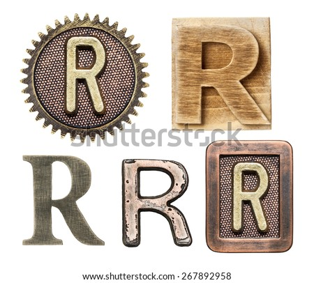 Alphabet made of wood and metal. Letter R - stock photo