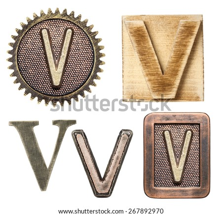 Alphabet made of wood and metal. Letter V - stock photo