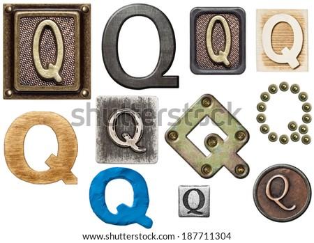 Alphabet made of wood, metal, plasticine. Letter Q - stock photo