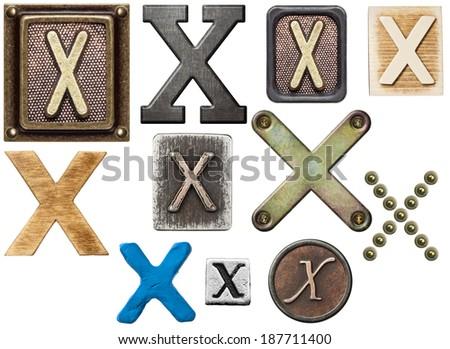 Alphabet made of wood, metal, plasticine. Letter X - stock photo