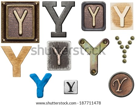 Alphabet made of wood, metal, plasticine. Letter Y - stock photo