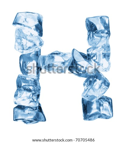 alphabet made out of ice isolated on white