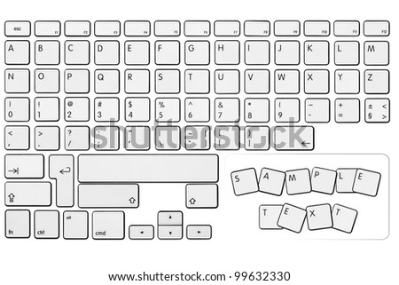 Alphabet, numbers and other keyboard keys on the white background - stock photo