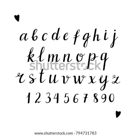 Numbers Letters Hearts Handwritten Font Black Brushed Calligraphy Text