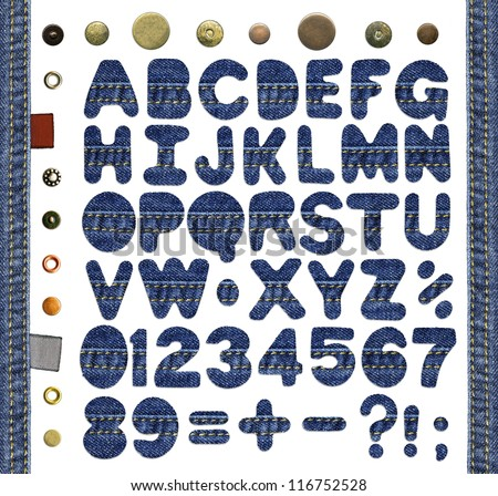 Alphabet, numbers, punctuation signs and symbols, made of blue jeans with seams, isolated over white background, denim frame, textile labels and metal rivets added as design elements - stock photo