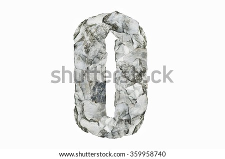 Alphabet O, created by a group of stone isolated on white background