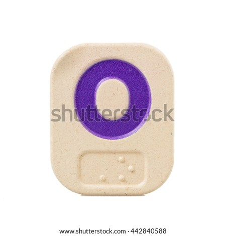alphabet O on white background  with Braille. - stock photo