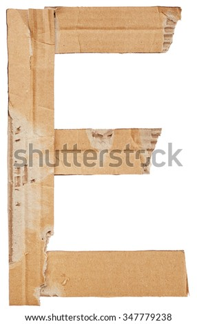 Alphabet of cardboard isolated on white background. Letter E