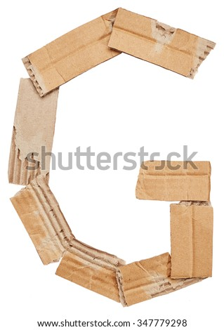 Alphabet of cardboard isolated on white background. Letter G