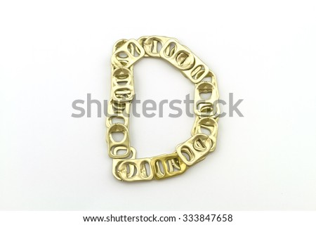 Alphabet  of D stack from  ring pull aluminum of cans on white background - stock photo