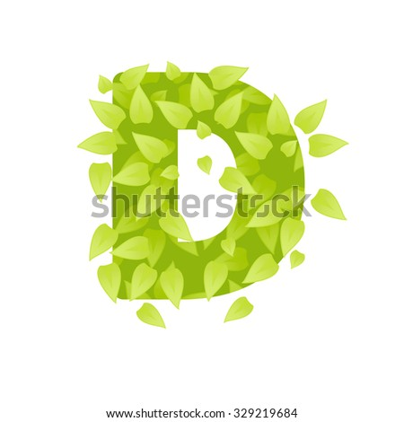 Alphabet of green grass on white background. Grass abc font.  illustration of letter D of green leaves. Letter of grass alphabet. Font D uppercase  with grass texture
