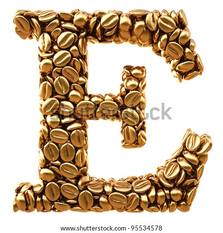 Alphabet of the golden coffee beans. isolated on white.