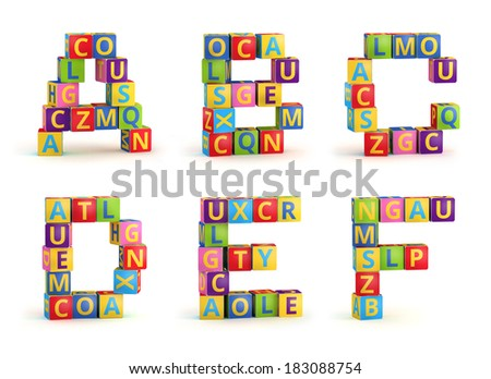 Alphabet on a baby cubes, letters A-F, abc blocks isolated on white background - stock photo