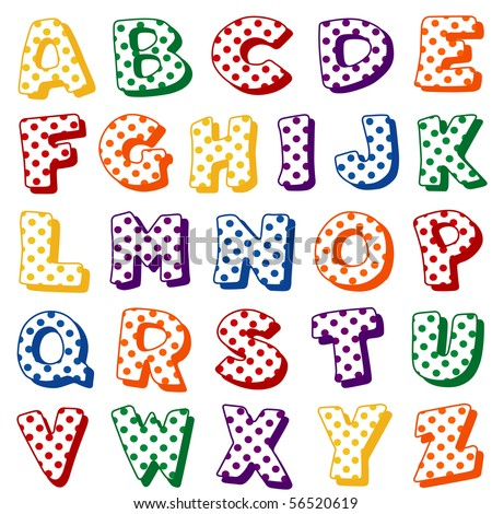 polka dot letters alphabet polka dots original letter design stock 24021 | stock photo alphabet polka dots original letter design in multi color polka dots on a white background for 56520619