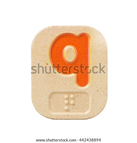 alphabet q on white background  with Braille. - stock photo