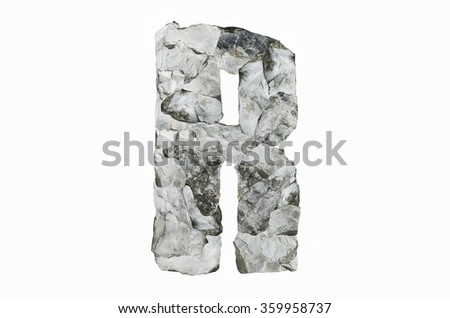 Alphabet R, created by a group of stone isolated on white background