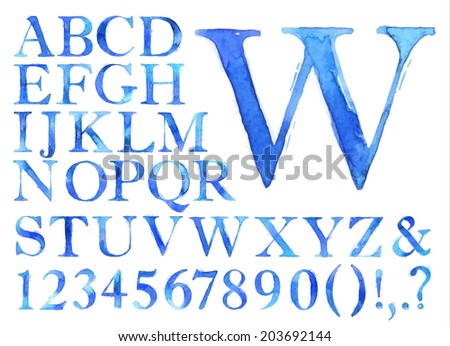 Alphabet set drawn watercolor blots and stains with a spray blue color. - stock photo