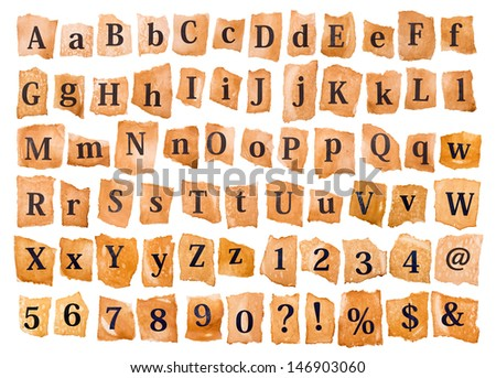 Alphabet set on the old paper - stock photo