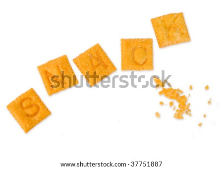 "alphabet snack crackers spell out the word ""snack"", isolated on white - stock photo"