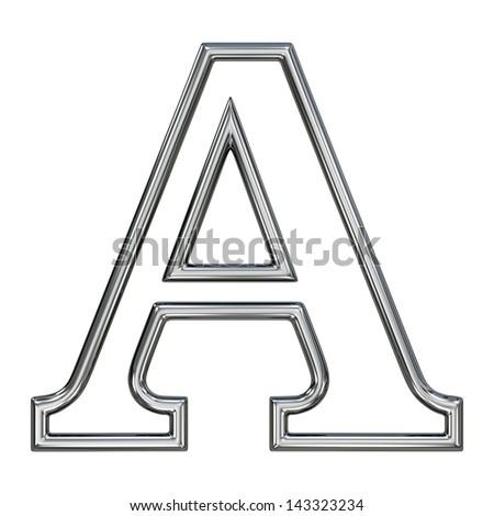 alphabet symbol A with chrome pipe outline - stock photo