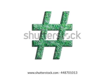 Alphabet symbol letters made from grass on white background,