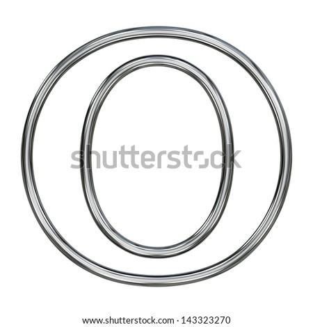 alphabet symbol O with chrome pipe outline - stock photo