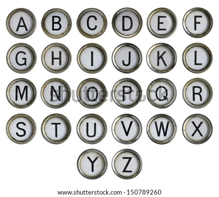 Alphabet - typewriter keyboard isolated on white - stock photo